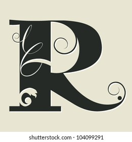 calligraphic letter R