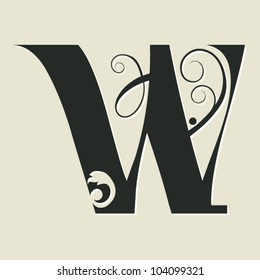 calligraphic letter W