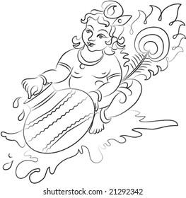Calligraphic Lord Krishna