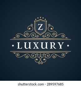 Calligraphic Luxury logo. Emblem elegant decor elements. Vintage vector symbol ornament Z