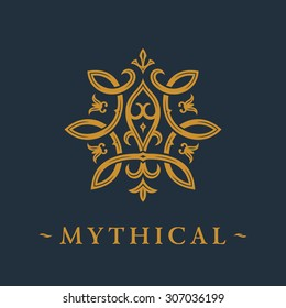 Calligraphic luxury symbol. Emblem ornate decor elements. Vintage vector ornament