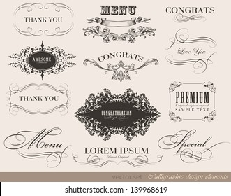 calligraphic menu design elements and page decoration/ vector set