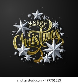 """Calligraphic """"Merry Christmas"""" Gold Lettering Decorated with White Paper Stars. Christmas Greeting Card"""