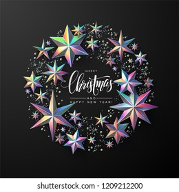 """Calligraphic """"Merry Christmas"""" Lettering Decorated with Holographic Stars. Christmas Greeting Card ."""