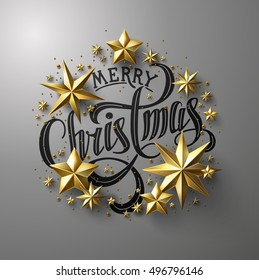 "Calligraphic ""Merry Christmas"" Lettering Decorated with  Gold Stars. Christmas Greeting Card ."
