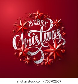 "Calligraphic ""Merry Christmas"" Lettering Decorated with Red Stars. Christmas Greeting Card ."