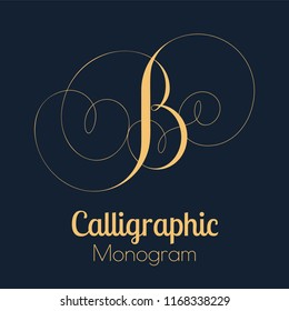 Calligraphic monogram letter B with swooshes