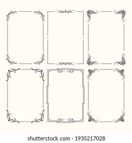 Calligraphic ornament set. Vintage Decorations - calligraphic Ornaments, Frames, dividers, borders, frames and lines. For Invitations, Banners, Posters, Placards, Badges. Vector isolated illustration.