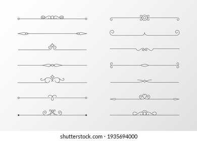 Calligraphic ornament set. Vintage Decorations. Vector isolated illustration.