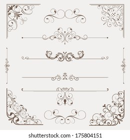Calligraphic retro elements, Corners and page dividers.