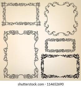 Calligraphic retro frames for page decoration. Vintage Vector Design Ornaments