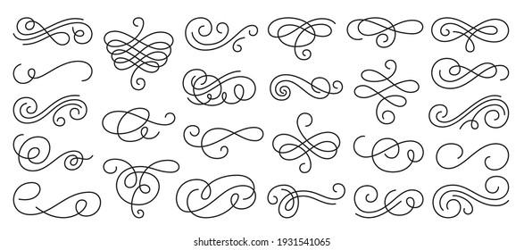 Calligraphic swirl ornament, line style flourishes set. Filigree ornamental curls. Decorative design elements for menu, certificate, diploma, wedding card, invatation, outline text divider
