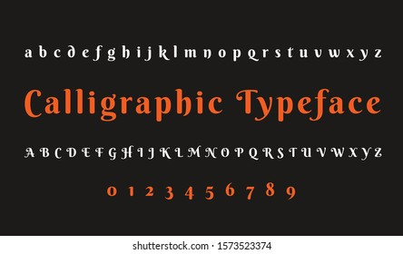 calligraphic typeface design. capital letters and numbers. alphabet, font