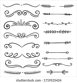 Calligraphic vector design vintage floral decorations collection.