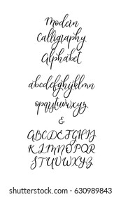Calligraphic vector font. Uppercase, lowercase, ampersand. Wedding brush calligraphy. Handwritten script alphabet