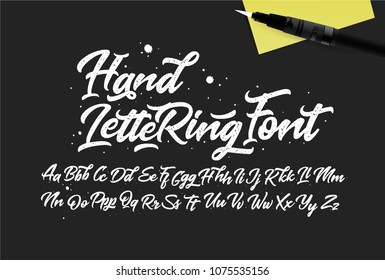 Calligraphic Vintage Handwritten Vector Font for Lettering. Trendy Retro Script with Stamp Texture. Letterpress type. Vector illustration.