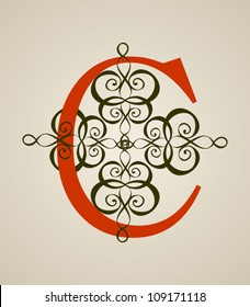 Calligraphic Vintage Red C letter on Light Brown Background, Old Decor, Vector Version