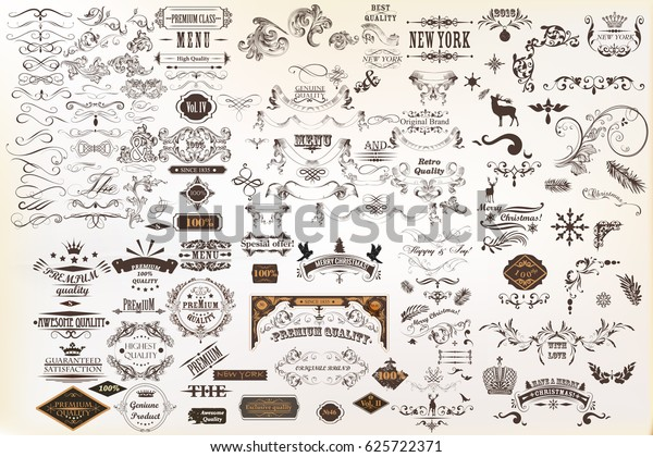 Calligraphic vintage vector design elements and page decorations. Huge set