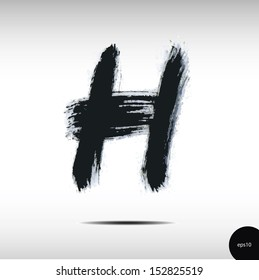 Calligraphic watercolor letter H