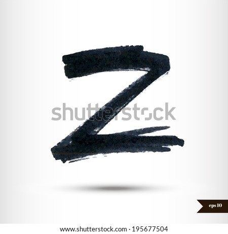 Calligraphic Watercolor Letter Z Stock Vector Royalty Free