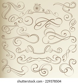 Calligraphical Vintage Curlicues, Dividers and Vignettes