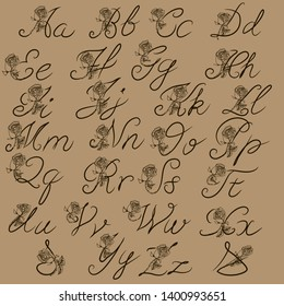 Calligraphy alphabet. Ampersand. Decorative handwritten brush font. Vector letters. Wedding calligraphy. ABC for your design. Floral lettering
