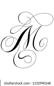 Calligraphy alphabet letter M