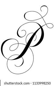 Calligraphy Alphabet Letter P