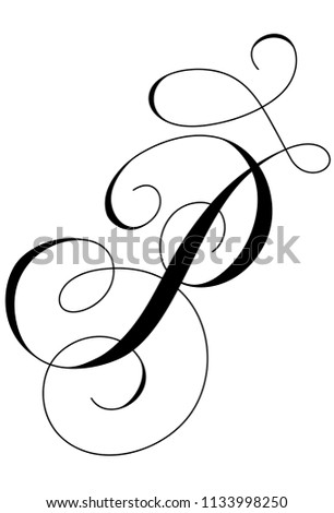 Calligraphy Alphabet Letter P Stock Vector (Royalty Free