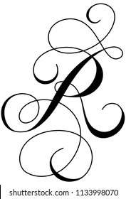 Calligraphy Alphabet Letter  R