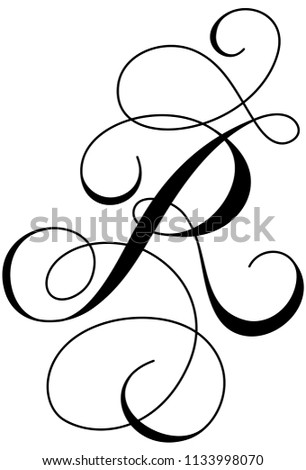 Calligraphy Alphabet Letter R Stock Vector (Royalty Free