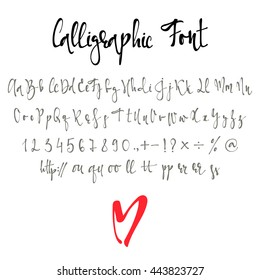 Calligraphy alphabet. Modern handmade font. Letters stylish in calligraphic style