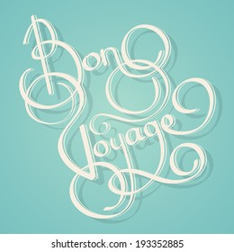 Calligraphy bon voyage vintage lettering postcard template vector illustration