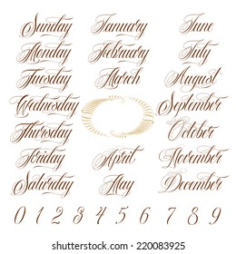 Calligraphy Days of the week, Months of the year and Numbers Set
