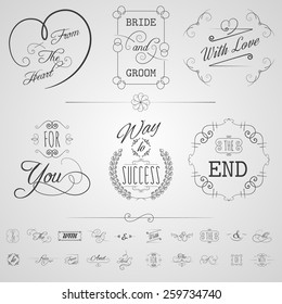 Calligraphy design elements wedding card invitation scrolls set isolated vector illustration