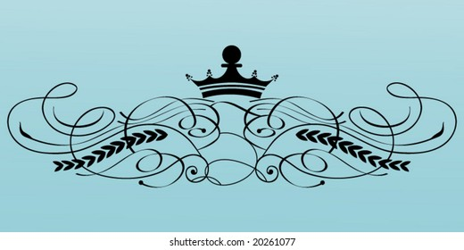 calligraphy flourish with crown