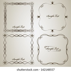 Calligraphy frame set with sample text. Isolated vintage frame design.