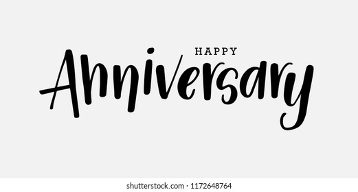 calligraphy of happy anniversary with black color on grey background