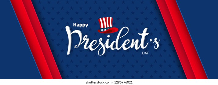 Calligraphy of Happy President's Day with uncle sam hat illustration on blue background. Header or banner design.
