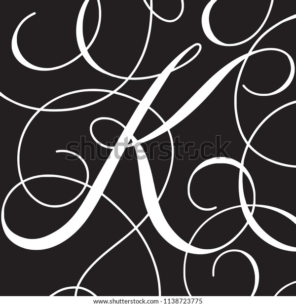 Calligraphy Initial Capital Letter K Stock Vector Royalty