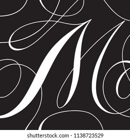 Calligraphy Initial Capital Letter M