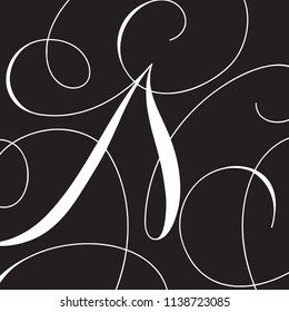 Calligraphy Initial Capital Letter N