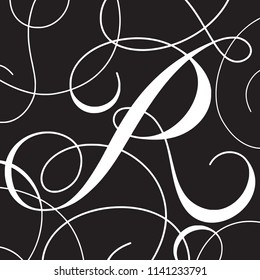 Calligraphy Initial Capital Letter R
