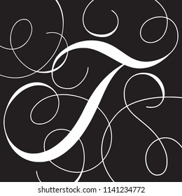 Calligraphy Initial Capital Letter T