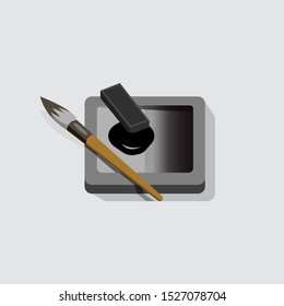 calligraphy ink, ink stone, and brush, sumi ink illustration symbol, icon,