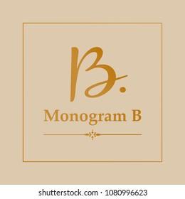 Calligraphy Letter B. Golden Monogram B Company Elegant Vector Logo.