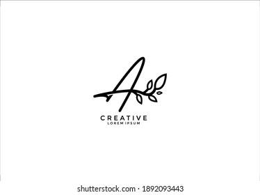 Calligraphy Letter A linked cute floral illustration logogram