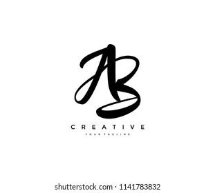 Calligraphy Lettering AB Letter Linked Desig Logo