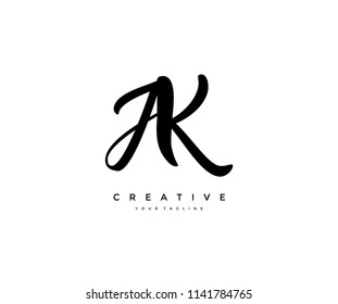 ak images stock photos vectors shutterstock https www shutterstock com image vector calligraphy lettering ak letter linked logo 1141784765