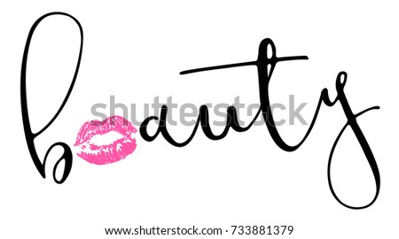 Calligraphy Lettering Beauty Pink Trace Kiss Stock Vector Royalty